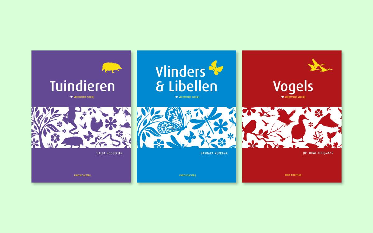 Ontwerp boekomslagen Verrassend vlakbij ontwikkeling uitwerking dtp vormgeving Tuindieren Vlinders&Libellen Vogels